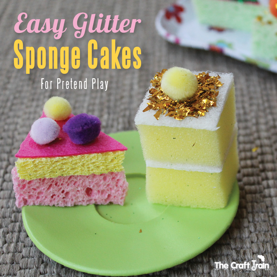 Dirt Cheap Decor Play Kitchen And Food Diy: Easy Peasy Glitter Sponge Cakes For Pretend Play